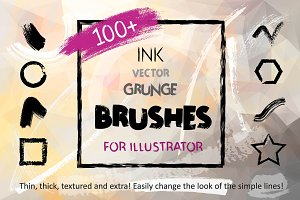 100+ Ink Brushes for Illustrator