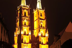 The Cathedral at night, Wroclaw