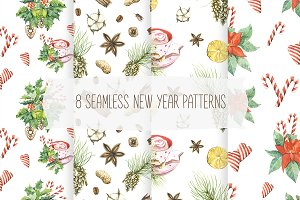 8 seamless winter patterns