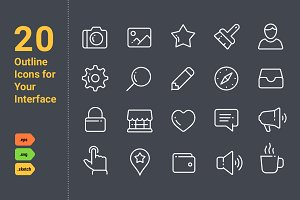 20 Outline Icons For Your Interface