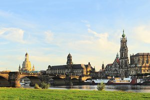 Skyline of Dresden at sunset.Germany