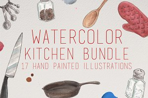 Watercolor Kitchen Illustrations