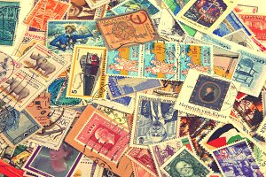 Vintage international postage stamps