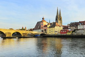 Regensburg at sunset, Germany