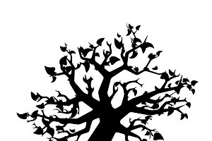 Black tree with leaves silhouette