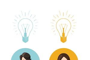 Flat avatars with lighting bulb idea