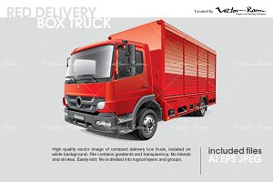 Red Delivery Box Truck