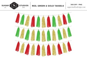Red, Green and Gold Tassels Clip Art