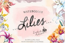 Watercolor Lilies Pack
