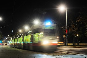 Tram at night street of Vienna