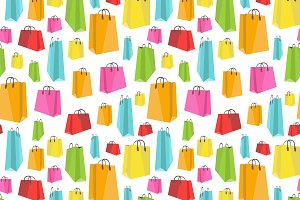 Flat colorful shopping bags pattern