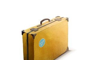 Yellow suitcase with sticker