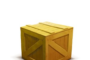 Yellow wooden crate with shadow