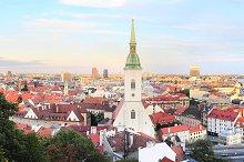 Panorama of Bratislava at sunset.
