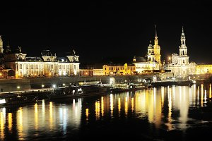 Panorama of Dresden at night.