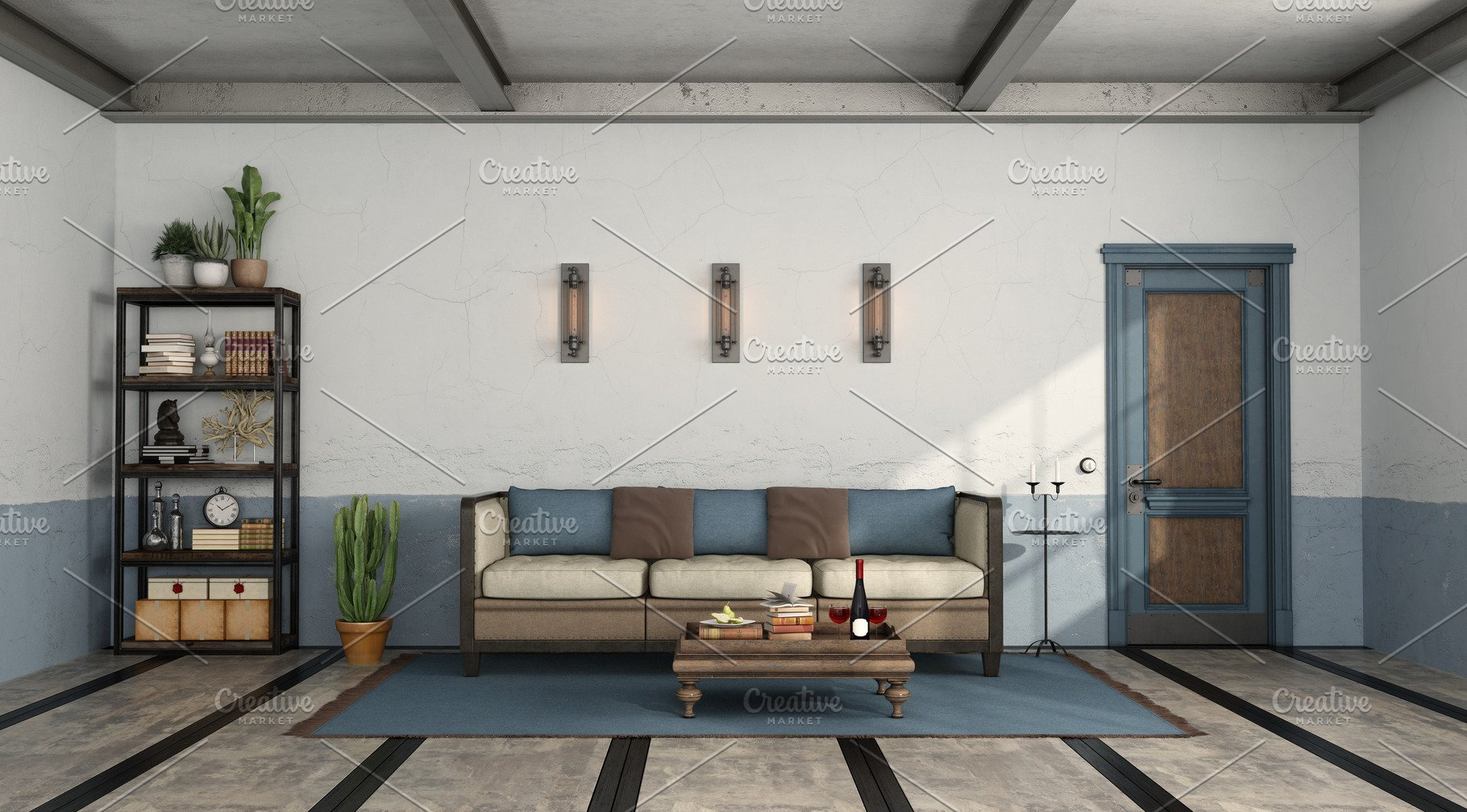 Retro living room with old sofa and