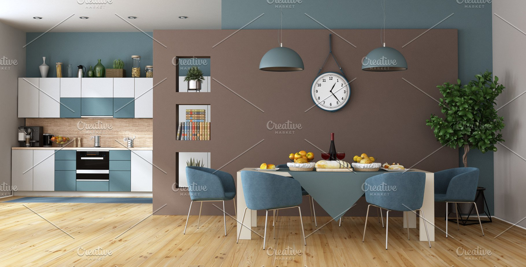 Modern dining room with kitchen on b