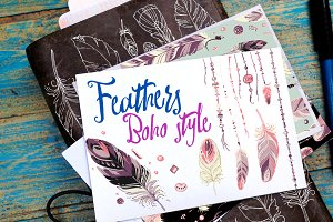 Feathers in the style of boho