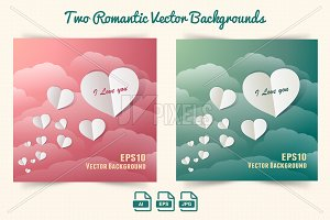 Vector Background - Paper Hearts