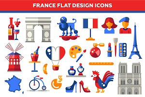 France Flat Design Icons Set