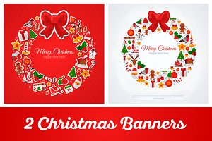 2 Christmas Banners with Wreath