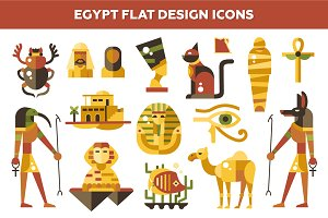 Egypt Flat Design Icons Set