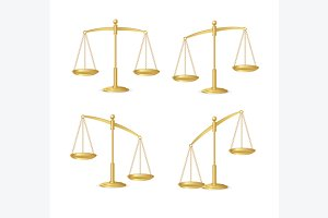 Gold Justice Scales Isolated. Vector