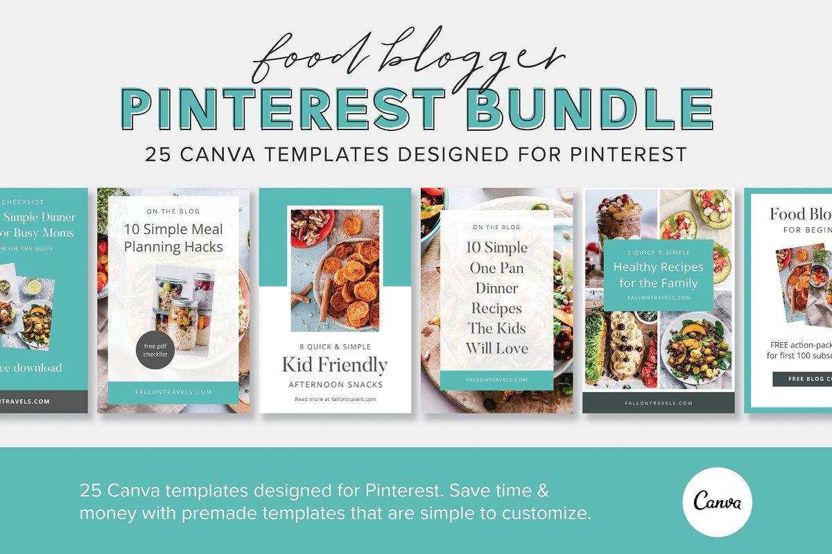 25 Food Blogger Pinterest Templates