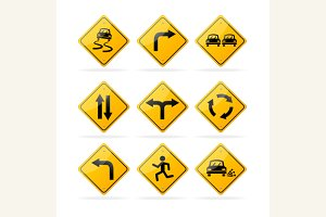 Yellow Road Traffic Signs Set