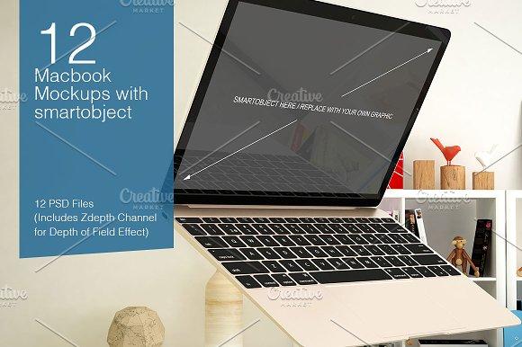 Macbook Mockup 12 Poses