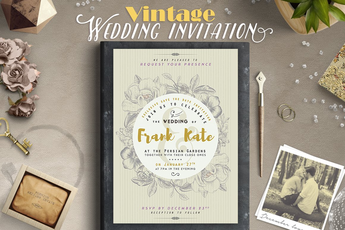 Vintage Wedding Invitation I ~ Invitation Templates ~ Creative Market