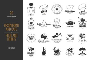 Big set of 20 Food and Drinks logos