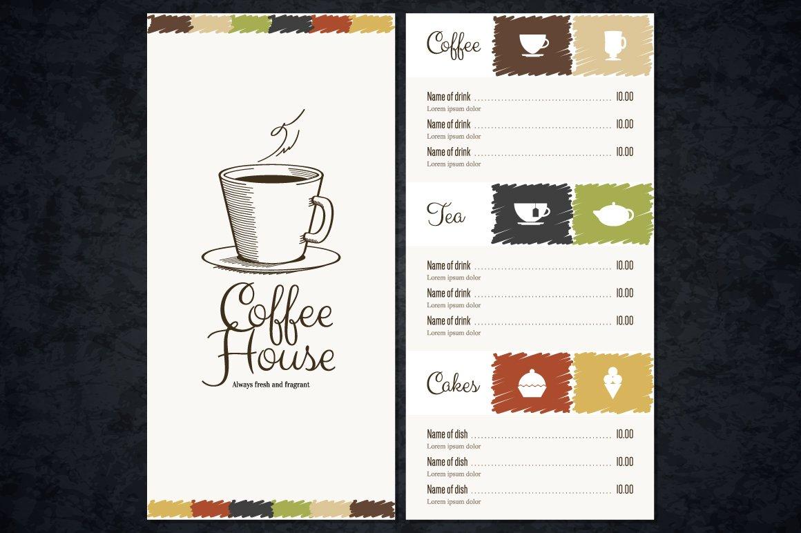 Coffee house menu template brochure templates creative market maxwellsz