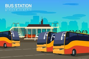 Bus station, vector flat background