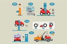 Flat design concepts for car service