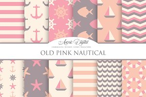 Old Pink Nautical Digital Paper