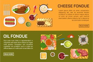 cheese fondue, oil fondue, chocolate
