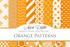 Orange Patterns Digital Papers