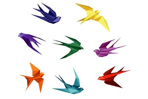 Swallows in origami style