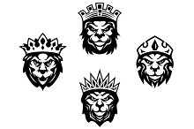 Heraldry lions with crowns