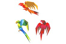 Abstract origami parrots
