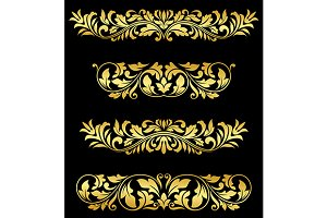Retro gold floral elements