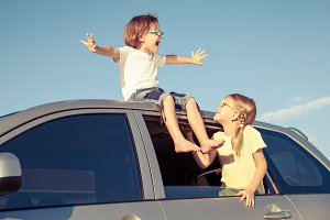 happy children in car