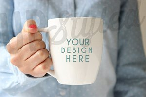 F126 White Coffee Bistro Mug Mock Up