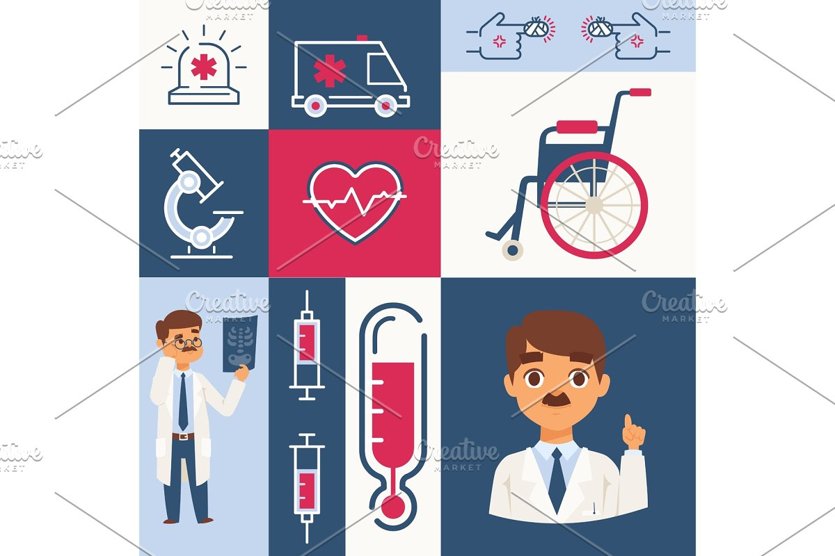Hospital icons and stickers, vector