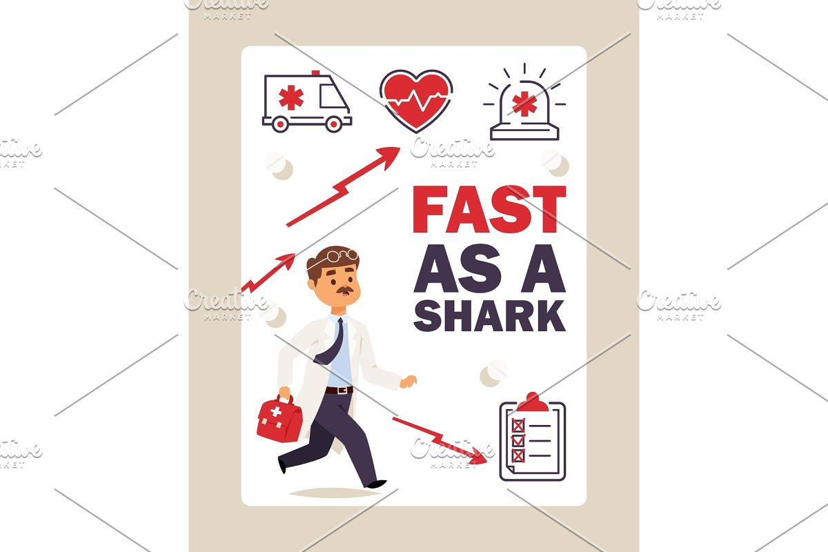 Running doctor first aid, vector