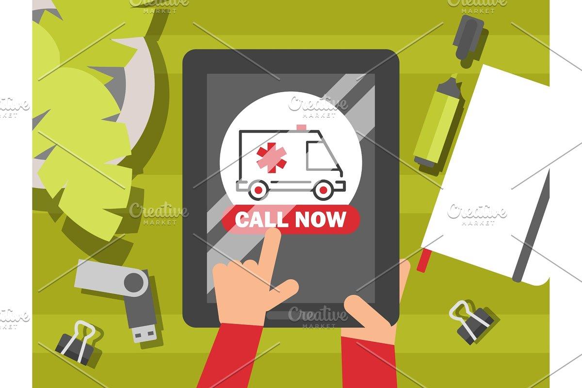 Emergency ambulance call, vector