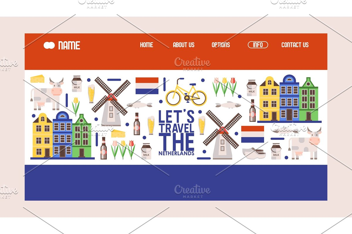 Netherlands travel icons, vector