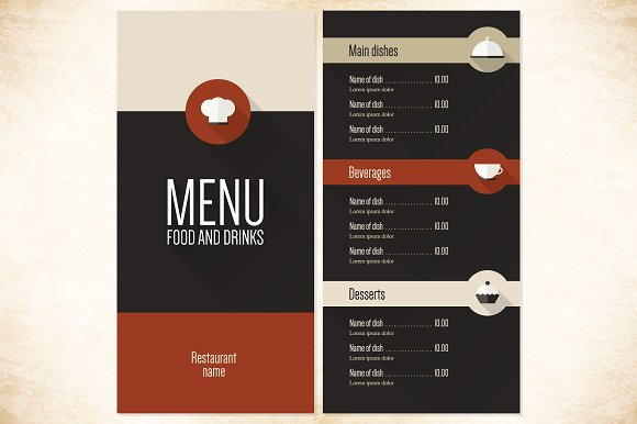 restaurant menu template brochure templates creative market