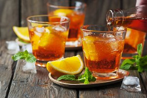 Glass of aperol with ice